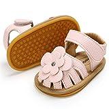 KaKaKiKi Summer Baby Girls Sandal Rubber Soft Sole Flower Bow Knot Non Slip Closed Toe Outdoor Toddler Princess Dress Flats Shoe Crib First Walker Shoe, A-pink, 6-12 Months Infant
