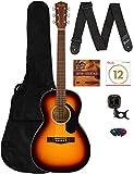 Fender CP-60S Solid Top Parlor Size Acoustic Guitar - Sunburst Bundle with Gig Bag, Tuner, Strap, Strings, Picks, Fender...