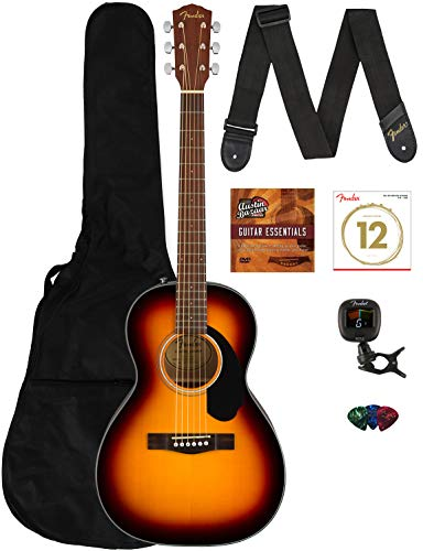 Fender CP-60S Solid Top Parlor Size Acoustic Guitar - Sunburst Bundle with Gig Bag, Tuner, Strap, Strings, Picks, Fender Play Online Lessons, and Austin Bazaar Instructional DVD