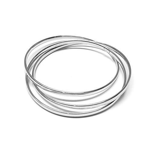 Linea Italia Joyas – Pulsera de mujer de plata 925 con tres círculos rígidos entrelazados – Fabricado en Italia