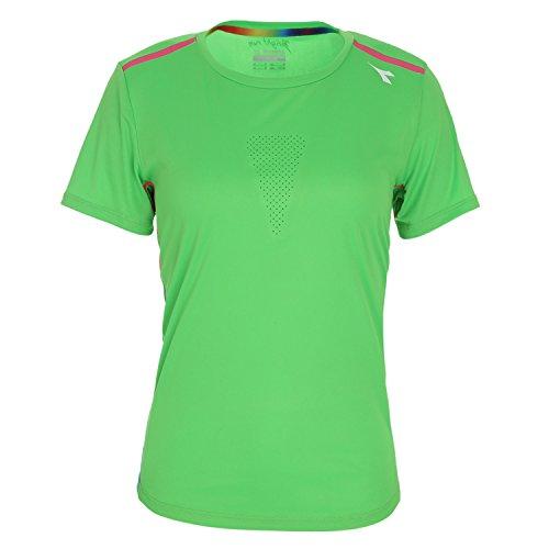 Diadora L.T-Shirt Top SS Camiseta de Running–Mujer Verde Fluo L