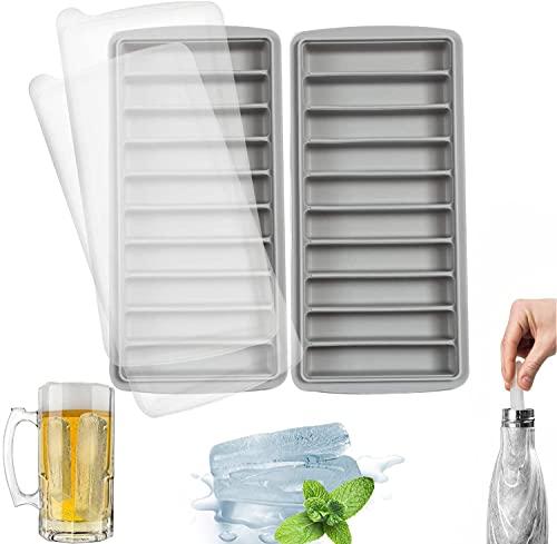 LessMo Stick Bandeja del Cubo de Hielo, de Silicona, con Tapa, Ideal para los Deportes y Las Botellas de Agua, 10 cavidades (Juego de 2, Gris)