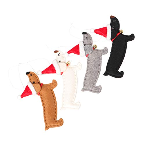 VOSAREA - Ciondoli decorativi per albero di Natale a forma di cane, in teak a forma di cane, decorazione per le forniture di festa di Natale, 4 pezzi