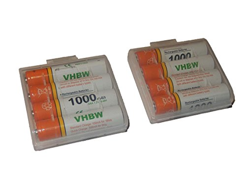 vhbw 8 x AAA, Micro, R3, HR03 Akku 1000mAh passend für Siemens Gigaset S810, S810A, S810H, S820, S820A, S820H, SX810 ISDN, SX810ISDN, A400a Duo