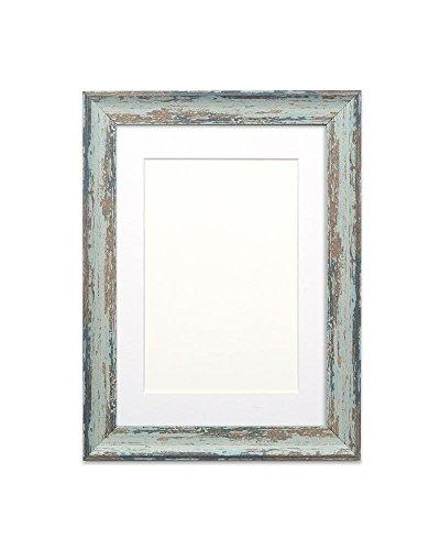 Fotolijst, met passe-partout, houtlook, onbreekbaar, plexiglas, 32 mm breed en 18 mm diep, lepelblauwe lijst met witte passe-partout, 35,6 x 27,9 cm