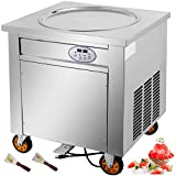 VEVOR Commercial Ice Roll Maker, 1800W Fried Yogurt Cream Machine, Fried Ice Cream Roll Machine with 19.7-Inch Round Pan, 2 Defrost Methods (Button & Pedal), Perfect for Bars, Cafes, Dessert Shops