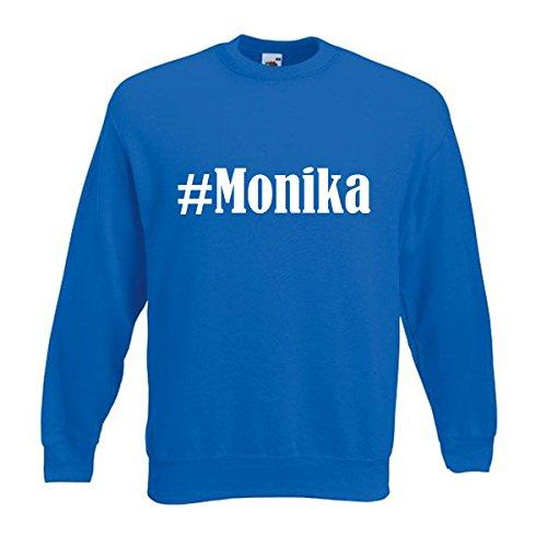 Reifen-Markt Sudadera Hashtag #Monika para mujer, hombre y niños en los colores negro, blanco y azul con impresión azul S