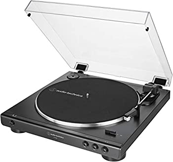 Audio-Technica AT-LP60X-BK Fully Automatic Belt-Drive Stereo Turntable Black Hi-Fi 2 Speed Dust Cover Anti-Resonance Die-Cast Aluminum Platter