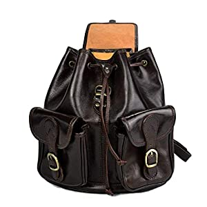 41UdLXMMT4L. SS300  - Mochila de piel marron oscuro mochila piel mochila hombre mujer mochila de viaje mochila de cuero mochila sport bolso de…