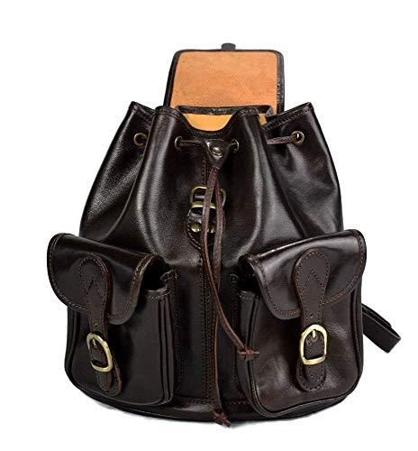 41UdLXMMT4L - Mochila de piel marron oscuro mochila piel mochila hombre mujer mochila de viaje mochila de cuero mochila sport bolso de espalda piel