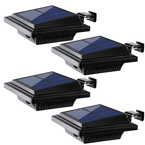 Dachrinne Solarleuchte 40 LEDs | UniqueFire Solarlampen für Außen | Schwarz Gartenbeleuchtung Warmweißes Solarlicht, 3W Sicherheitswandleuchte Aussen Zaunlicht Außenlampe für Garage, Patio
