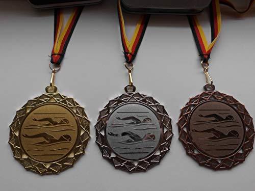 Fanshop Lünen Medaillen Set - Große Stahl 70mm - Gold, Silber, Bronze, Schwimmen - Schwimmensport - mit Alu Emblem 50mm - Gold,Silber,Bronce, Medaillenset - mit Medaillen-Band - (e111) -