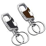 Key Chain 2 Key Rings Stainless Steel Heavy Duty Car Keychain for Men and Women