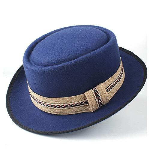 TX GIRL Chapeau en Feutre de Laine Fedora Hommes Femmes Large Pork Pie Hat Brim Trilby Panama Hat Jazz Flat Canotier Outdoor Hat Casual (Color : Blue, Size : 58)