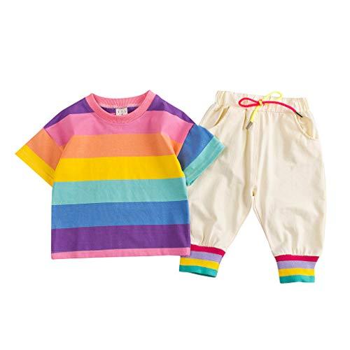 TWIFER_été_Toddler Baby Boy Kids Rainbow Stripe Tops T-Shirt +Pants Outfits Set_1 2 3 4 5 6 7 9 Ans Les magasins Ont