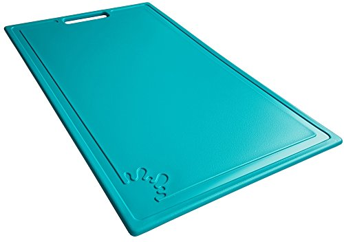 Chopping Board Plastic Non-Slip Feet Cutting Board Dishwasher Safe Antibacterial (Large, Turquoise)