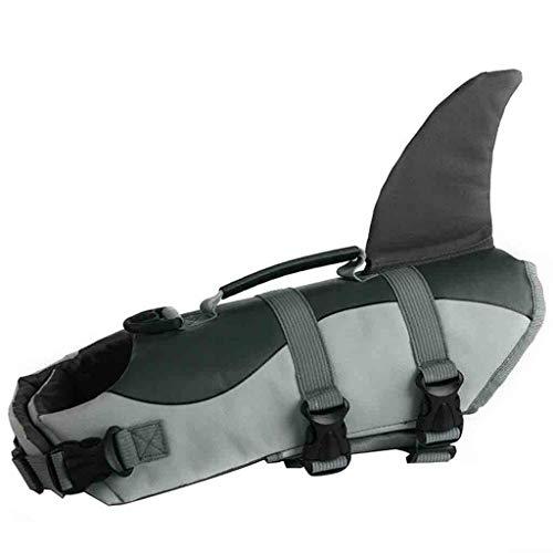 Sayhi Pet Dog Life Swimming Jacket Dog Shark Float Vest Puppy Cats Buoyancy Aid Vest Costume Pet Dog Clothes (Gray,L)