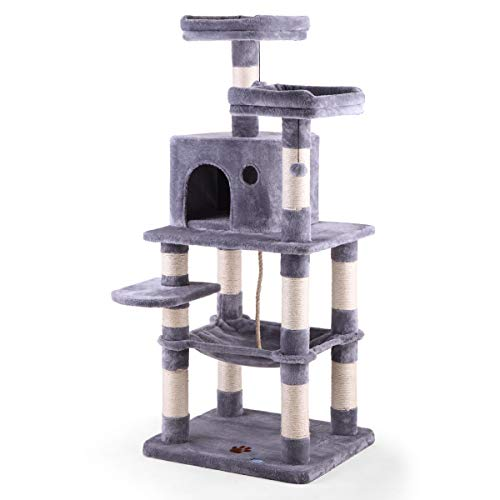 """COZIWOW 57"""" Cat Trees and Towers with Scratching Posts Condos Hammock Resting Perch, Indoor Pet Activity Furniture Play House for Large Cats Kitty..."""