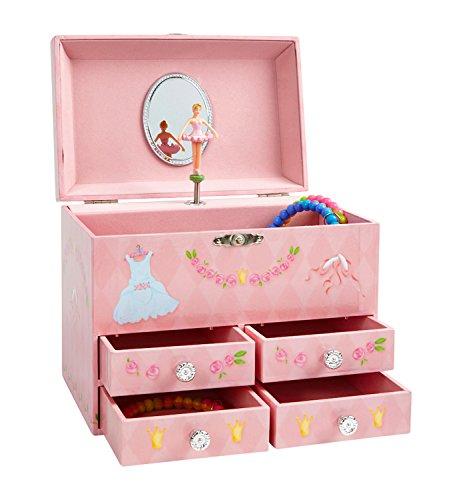 Jewelkeeper - Pinke Diamanten und Blumen Großes Spieluhr Schmuckkästchen mit 4 Ausziehfächern, Schmuckkästchen für Mädchen - Schwanensee Melodie