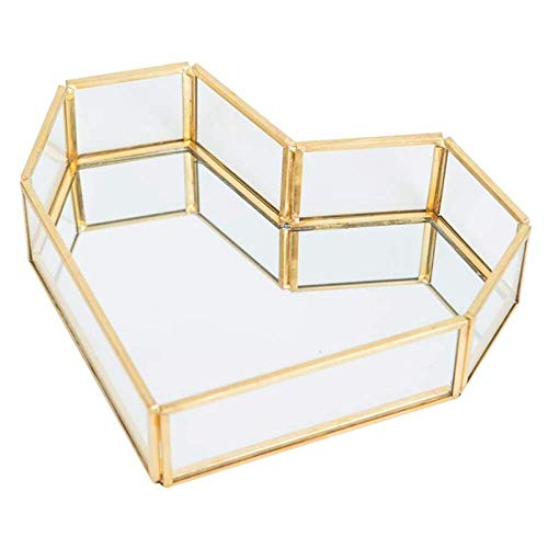 Heart-Shaped Gold Rim Gl Jewelry Tray, Transparent Jewelry Display Box, Dressing Table, Bathroom and Home Decoration