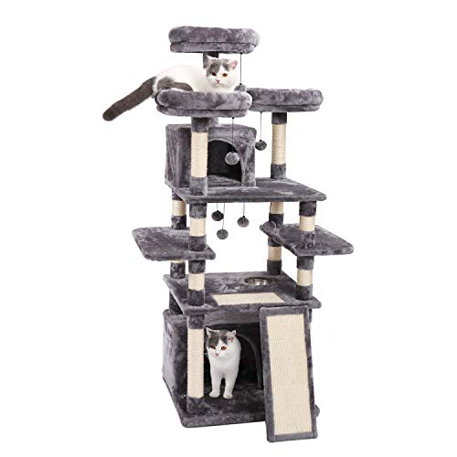 Made4Pets 66 Inches Multi-Level Cat Tree Tower with Feeding Bowl (only Dry Food), Deluxe Kitten...