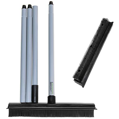 UNIVERSAL BROOM - Innovative Silicone Rubber Broom & Squeegee - Washable Broom for Pet Hair, Dirt & Spills - Carpet Rake to Fluff Carpet, Cleans Wood, Tile and Windows - Soft Rubber Bristles