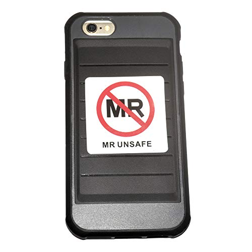 10-Pack MR Unsafe Label MRI Unsafe Vinyl Sticker for Radiology 2 x 2 inch Waterproof Disinfectable IEC 62570:2014 / ASTM F2503 Compliant