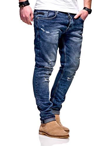 MT Styles Herren Jeans Slim Fit Hose JN-3752 [Blau, W32/L32]