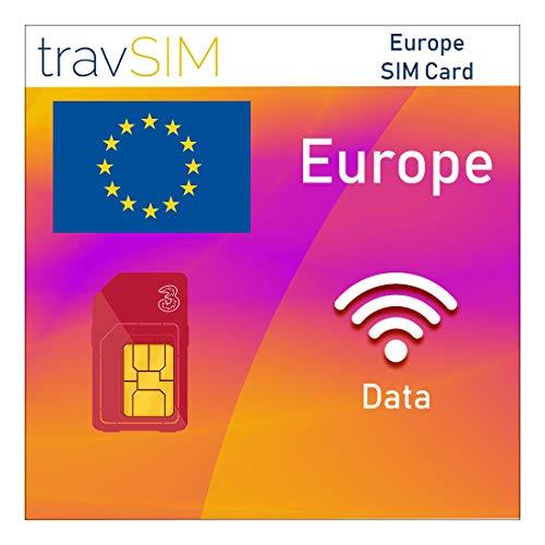 travSIM - Tarjeta SIM Europea (Tarjeta SIM Three UK para Europa) Válida por 30 Días - Datos Móviles de 6GB - Alemania Austria Italia Francia Suiza - Llamadas y Mensajes de Texto a Países Europeos