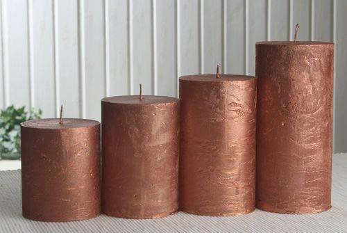 Rustik-Stumpenkerzen-Adventsset, groß, 7 cm Ø, Kupfer-metallic