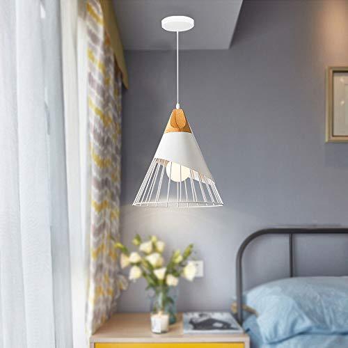 Semplice moderno Illuminazione a sospensione Lampada sospensione in metallo creativo Forma di cono in legno massello Luci a sospensione regolabili Lampadari per sale da pranzo E27 MAX60W Ø25CM Bianco