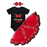 Mouse 1st Birthday Outfit Baby Girls Romper Polka Dots Mini Tutu Skirt Headband 1 Year Old Cake Smash Photo Shoot I'm One Toddler First Mouse Themed Birthday Party Supplies Black+Red Bowknot 1T