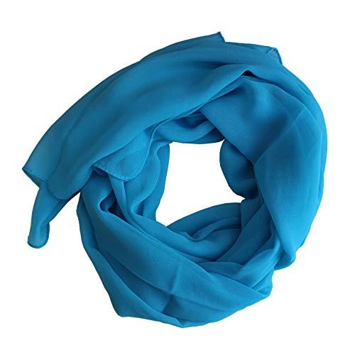 Dolce Abbraccio Damen Schal Stola Halstuch Tuch aus Chiffon für Frühling Sommer Ganzjährig Hellblau Blau
