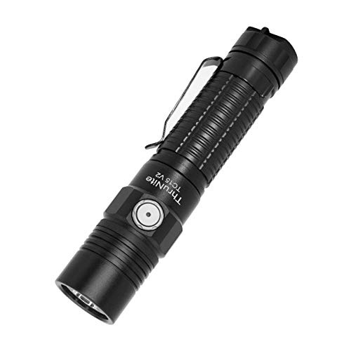 ThruNite TC15 V2 2531 High Lumens Ultra-Bright Flashlight, USB Rechargeable LED Handheld Flashlights, CREE XHP 35.2 LED, Indoor/Outdoor (Camping, Security and Emergency Use) Cool White - Black CW