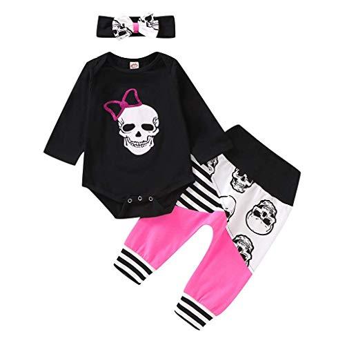 Pigiama per bambini, tutine da notte, tutine con stampa a teschio, girocollo, pantaloni lunghi + fascia + pigiama, tutina per bambini, tutina e tutina