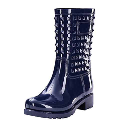 tqgold/®Botas de Agua Mujer Botas de Lluvia Impermeable Hebilla Boots Goma Casual Calzado Negro