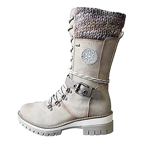 Platform Boots Cowgirl Shoes High-top Long Barrel Belt Buckle Wool Lace-up Women Heels Ankle Chunky Block Comfortable Western Retro Black Boots Snow Booties