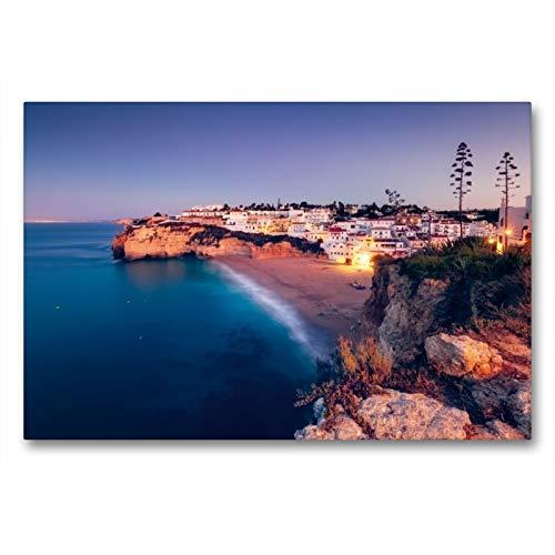 Premium Textil-Leinwand 90 x 60 cm Quer-Format Goldene Kalkklippen (Praia do Carvoeiro/Algarve) | Wandbild, HD-Bild auf Keilrahmen, Fertigbild auf hochwertigem Vlies, Leinwanddruck von Dirk Wiemer