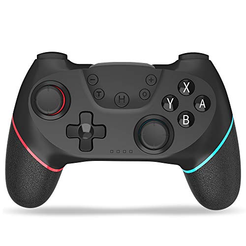【2021最新】Switch コントローラー SHINEZONE 無線Bluetooth ジャイロセンサー搭載 HD振動TURBO 連続射撃機能付き スイッチコントローラーすべてのシステム対応(青&赤)