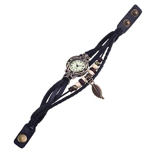 Morninganswer Nuevo Reloj de Pulsera de Hoja de 1 Uds.Reloj de Pulsera con Movimiento de Cuarzo, Reloj de Pulsera para niña, Mujer, envío Directo, Negro