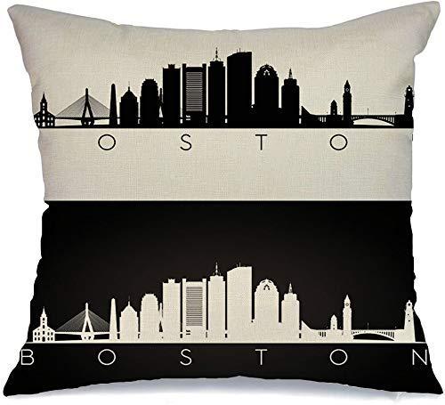 Funda de Cojine Throw CojínUrbano Boston United Estados Unidos contorno horizonte hitos arquitectura silueta oscura signos negros símbolos Fundas para almohada 45X45CM