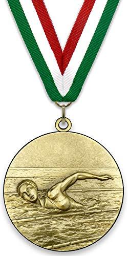 Medaglia di metallo personalizzabile - nuoto femminile - colore oro - 6,4 cm - nastro incluso - colori a nastro - Verde-Bianco-Rosso