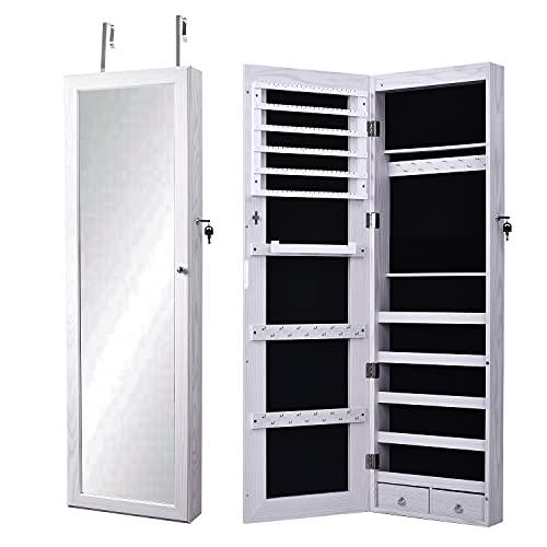sogesfurniture Schmuckschrank Spiegelschrank hängend, 120x37x9.7cm Standspiegel Schmuckregal Türmontage Wandmontage abschließbar, weiß BHEU-QH-7025