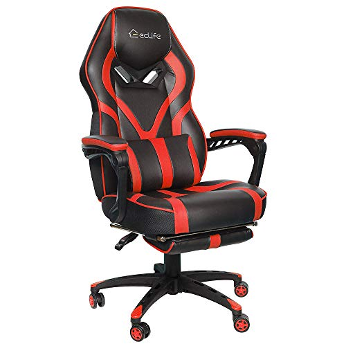 Office Chair,Game Chair,Massage Gaming Chair Racing Style,High Back PU Leather PC Racing Computer Desk Office Swivel Recliner with Retractable Footrest and Adjustable Lumbar Cushion Support (Red)