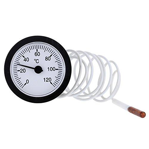 KKmoon Zeigerthermometer Kapillare Temperaturmessgerät Gauge mit 1m Sensor 0-120 ° C für die Messung Wasser Flüssigke
