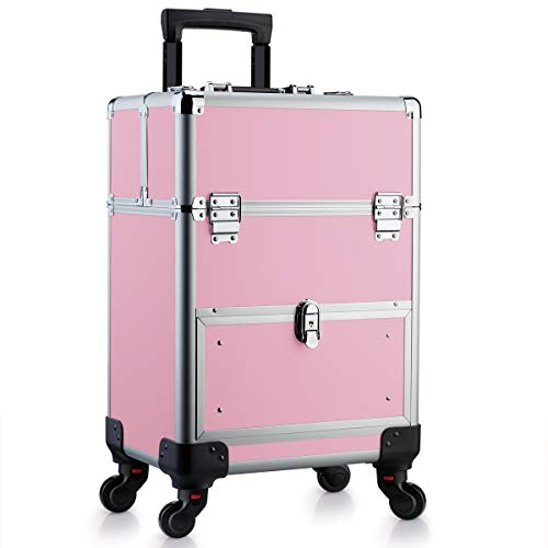 OUDMAY by Amazon - Makeup Case - Aluminum Professional Rolling Cosmetic Storage Box With Drawer and Locks Pink