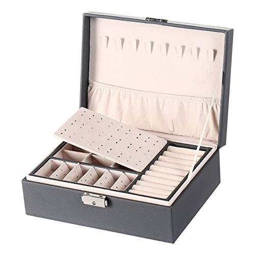 Caja de joyería de cuero de doble capa Pendientes de botón de oreja Caja de almacenamiento de adornos Caja de joyería grande multifunción
