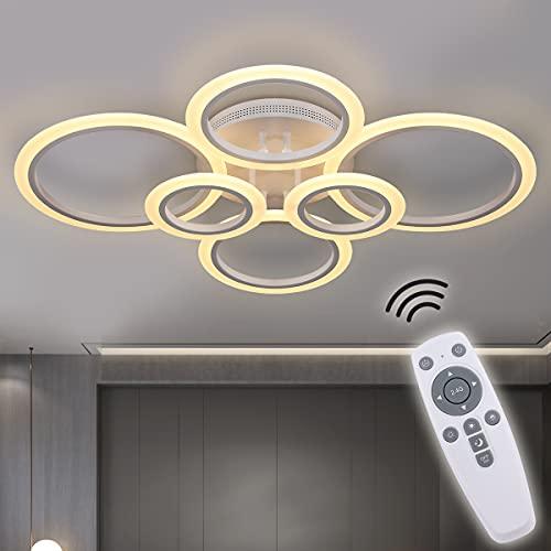 RUYI Modern LED Deckenleuchte Dimmbar mit Fernbedienung 6-Ring Deckenleuchte 72W 6400LM, Deckenlampe für Wohnzimmer, Schlafzimmer, Küche, Flur, Balkon, Esszimmer, Weiß, 2700-7000K