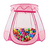 Number-one Princess Castle Play Tent Kids Pink Play House Foldable Popup Balls House Children Indoor Outdoor Playhouse with Storage Bag for Baby Toddler Girls 49.2in 33.5in