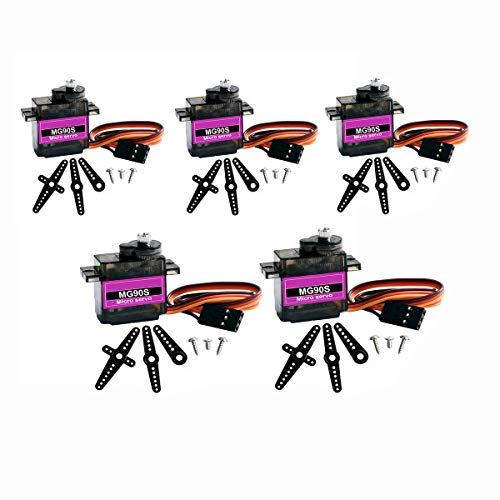 DaFuRui 5Pcs MG90S Micro Servo Motor Mini 9G Metal Geared Micro Servo Compatible for Arduino RC Robot Helicopter Airplane Boat Controls